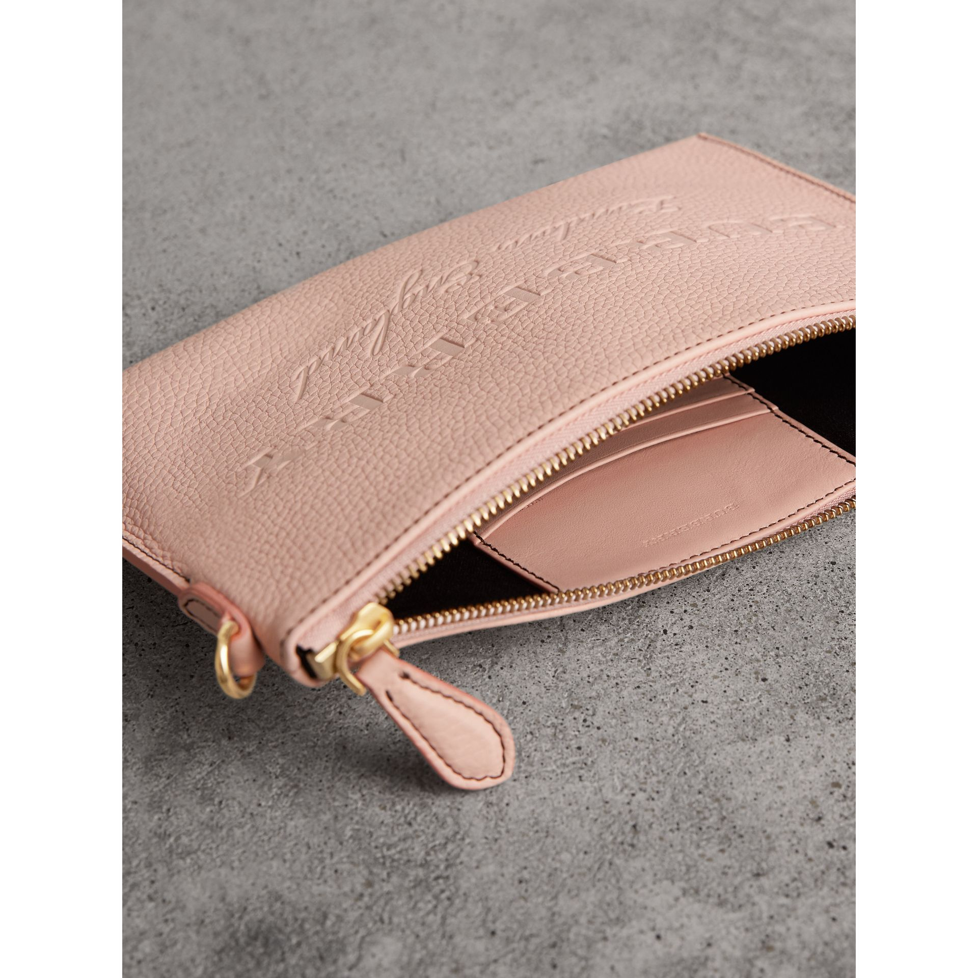Embossed Leather Clutch Bag in Pale Ash Rose - Women | Burberry - gallery image 5