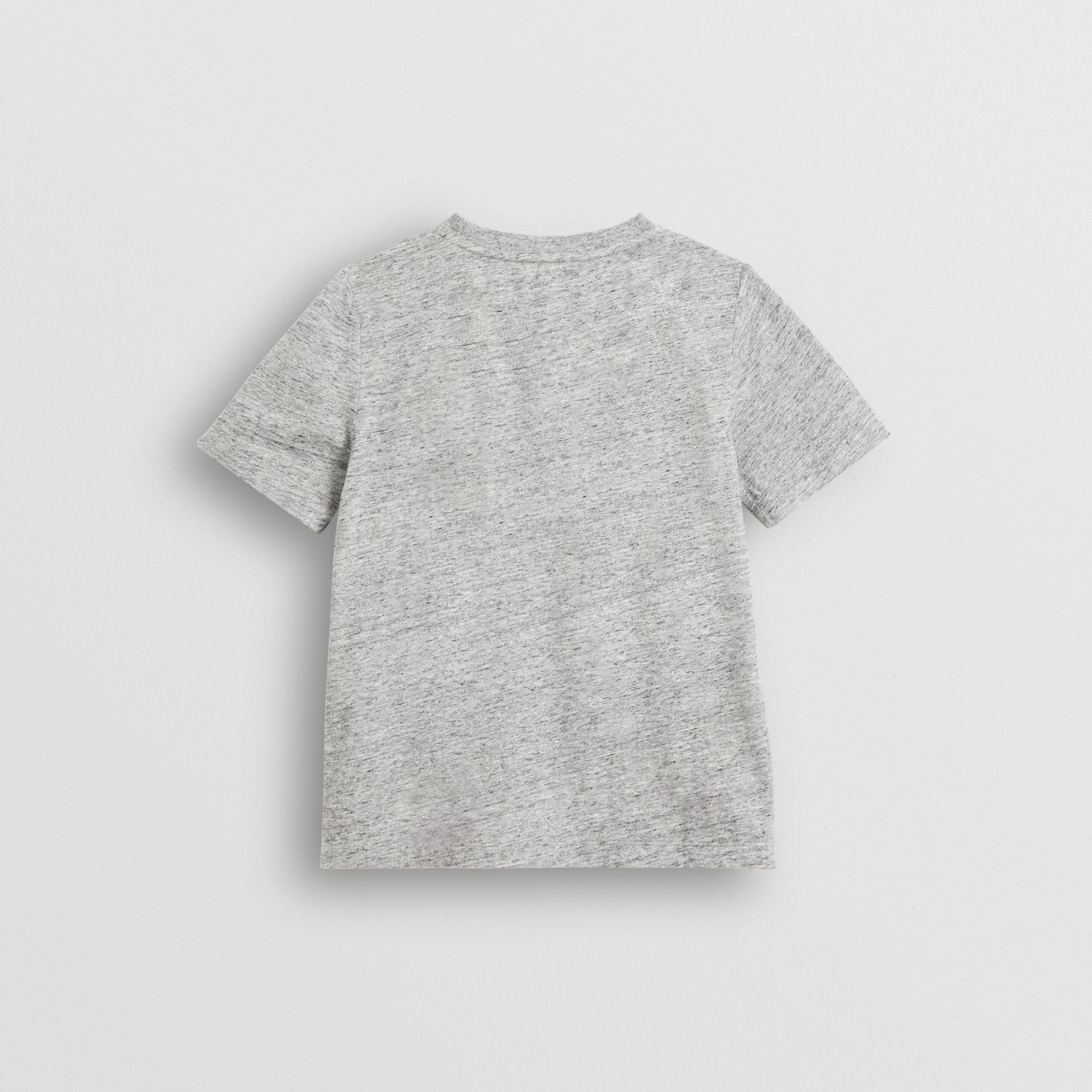 Logo Print Cotton Blend T-shirt in Grey Melange - Children | Burberry United Kingdom - gallery image 3
