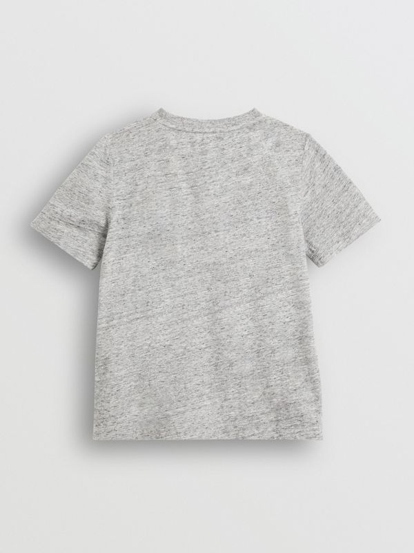 Logo Print Cotton Blend T-shirt in Grey Melange - Children | Burberry United Kingdom - cell image 3
