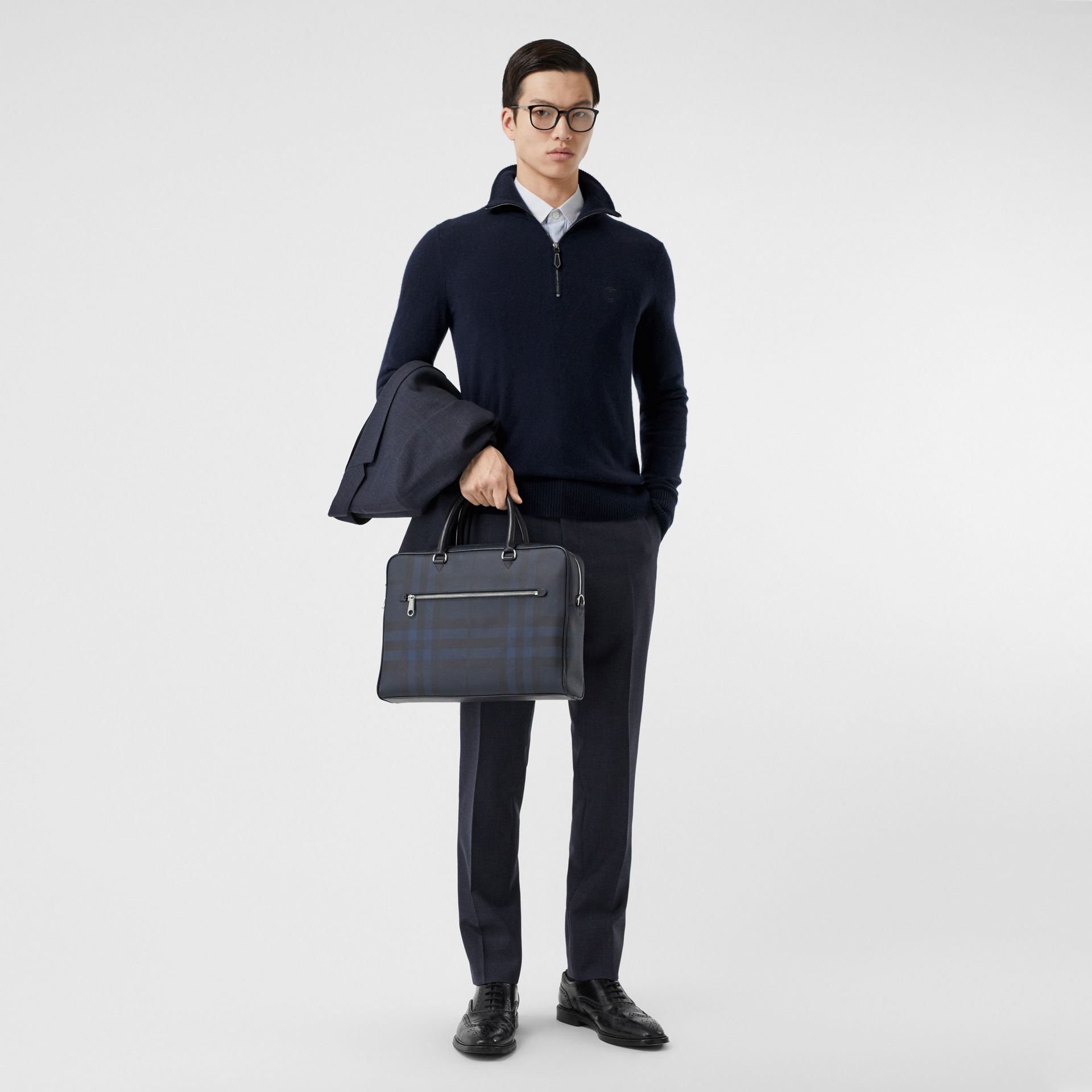 Monogram Motif Cashmere Funnel Neck Sweater in Navy - Men | Burberry Hong Kong S.A.R - gallery image 4