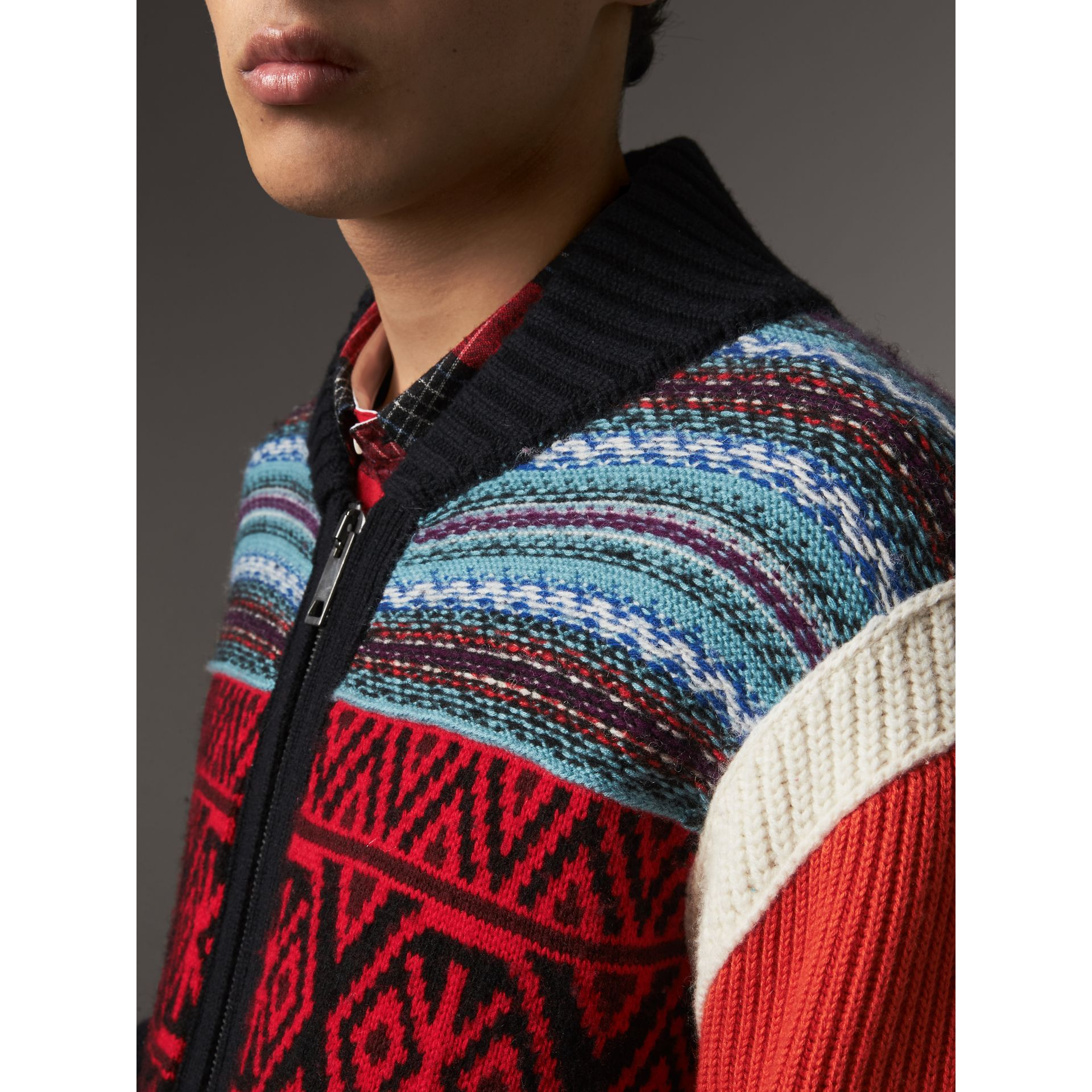 Fair Isle Wool Cashmere Cotton Bomber Jacket in Orange - Men | Burberry United Kingdom - gallery image 1