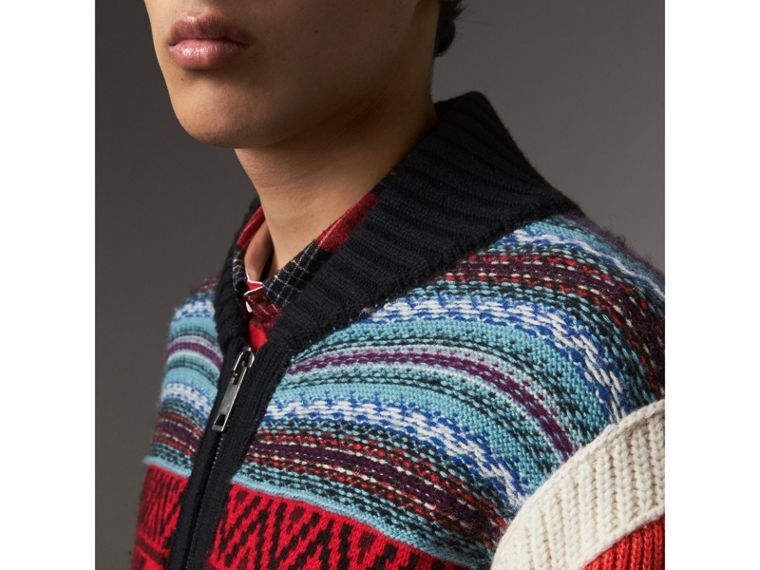 Fair Isle Wool Cashmere Cotton Bomber Jacket in Orange - Men | Burberry Australia - cell image 1
