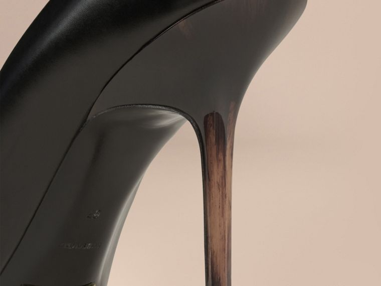 Black Hand-painted Point-toe Leather Pumps Black - cell image 4