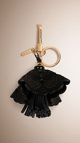 Floral Leather Key Charm