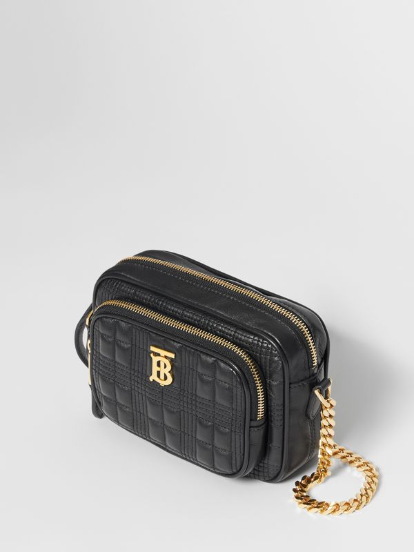 Small Quilted Check Lambskin Camera Bag in Black - Women | Burberry - cell image 2