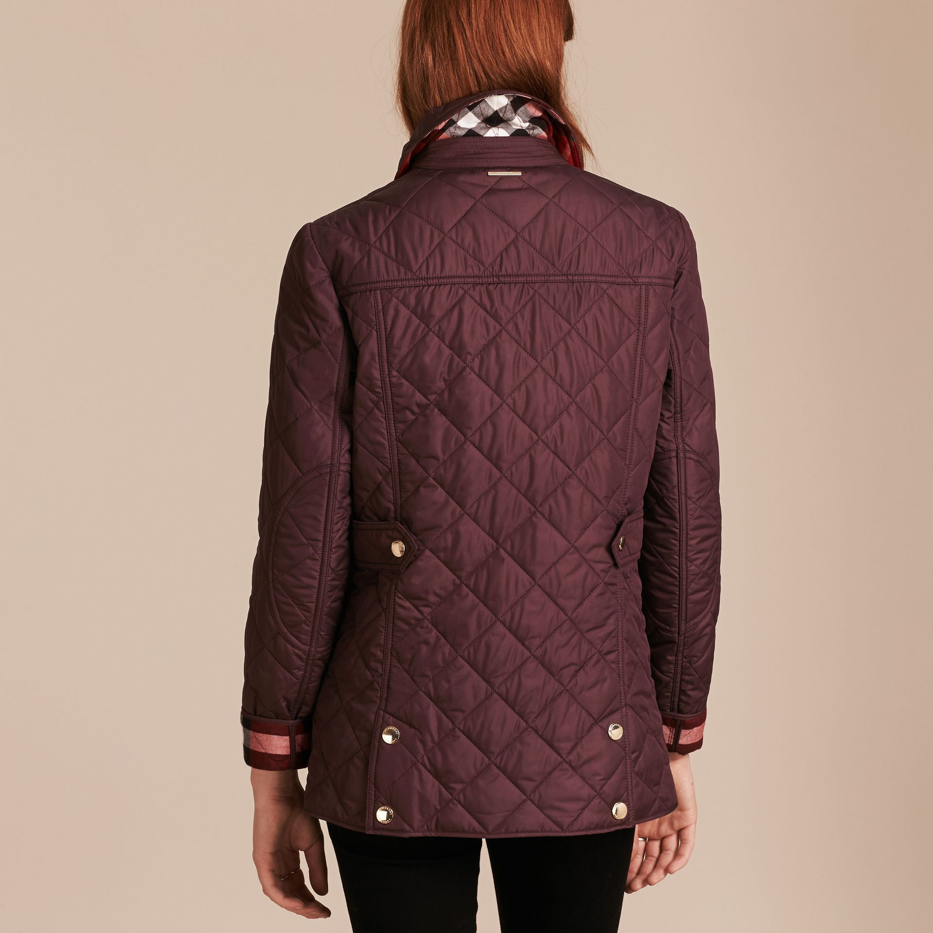 Burgundy Check Lined Diamond Quilted Jacket Burgundy - gallery image 2