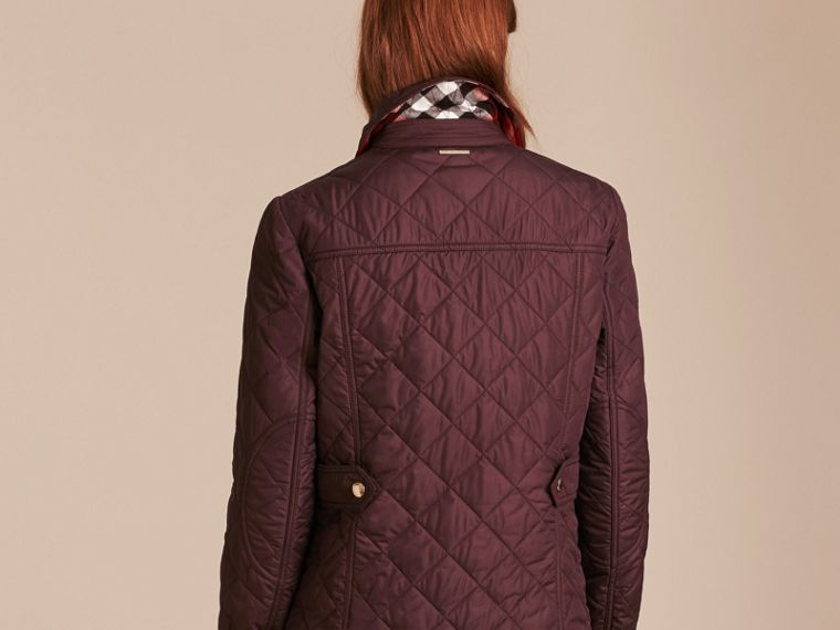 Burgundy Check Detail Diamond Quilted Jacket Burgundy - cell image 1