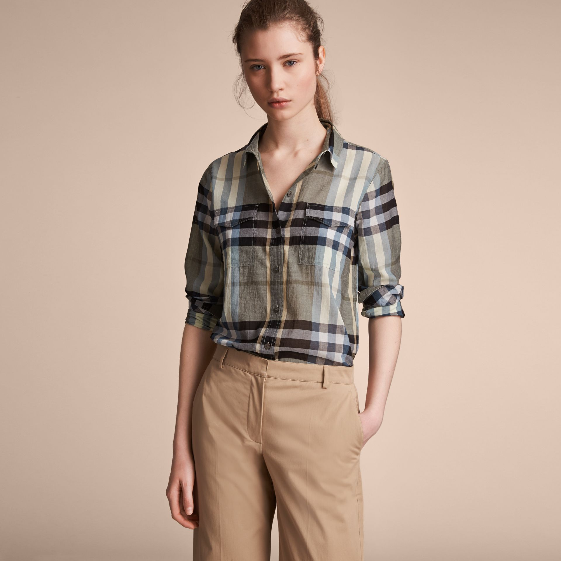 Check Cotton Shirt in Stone Green - Women | Burberry Australia - gallery image 6