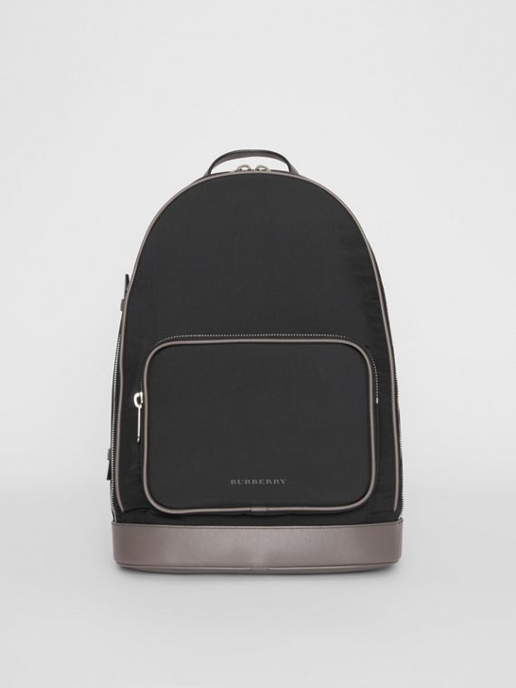 Heritage Stripe Detail Nylon Backpack in Black
