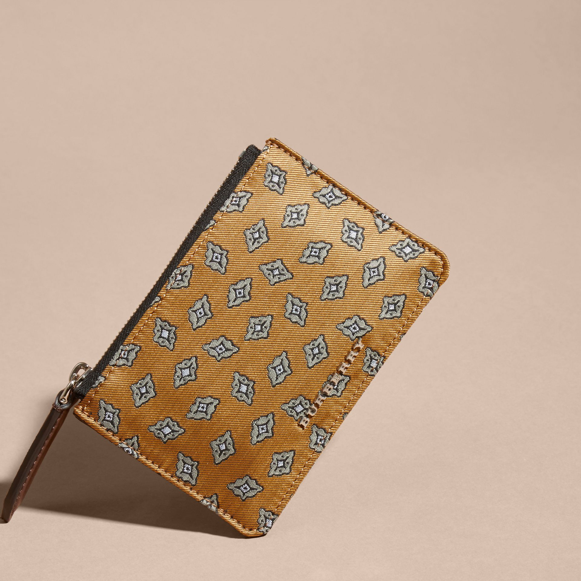 Citrus yellow Geometric Tile Jacquard Zip-top Wallet Citrus Yellow - gallery image 3
