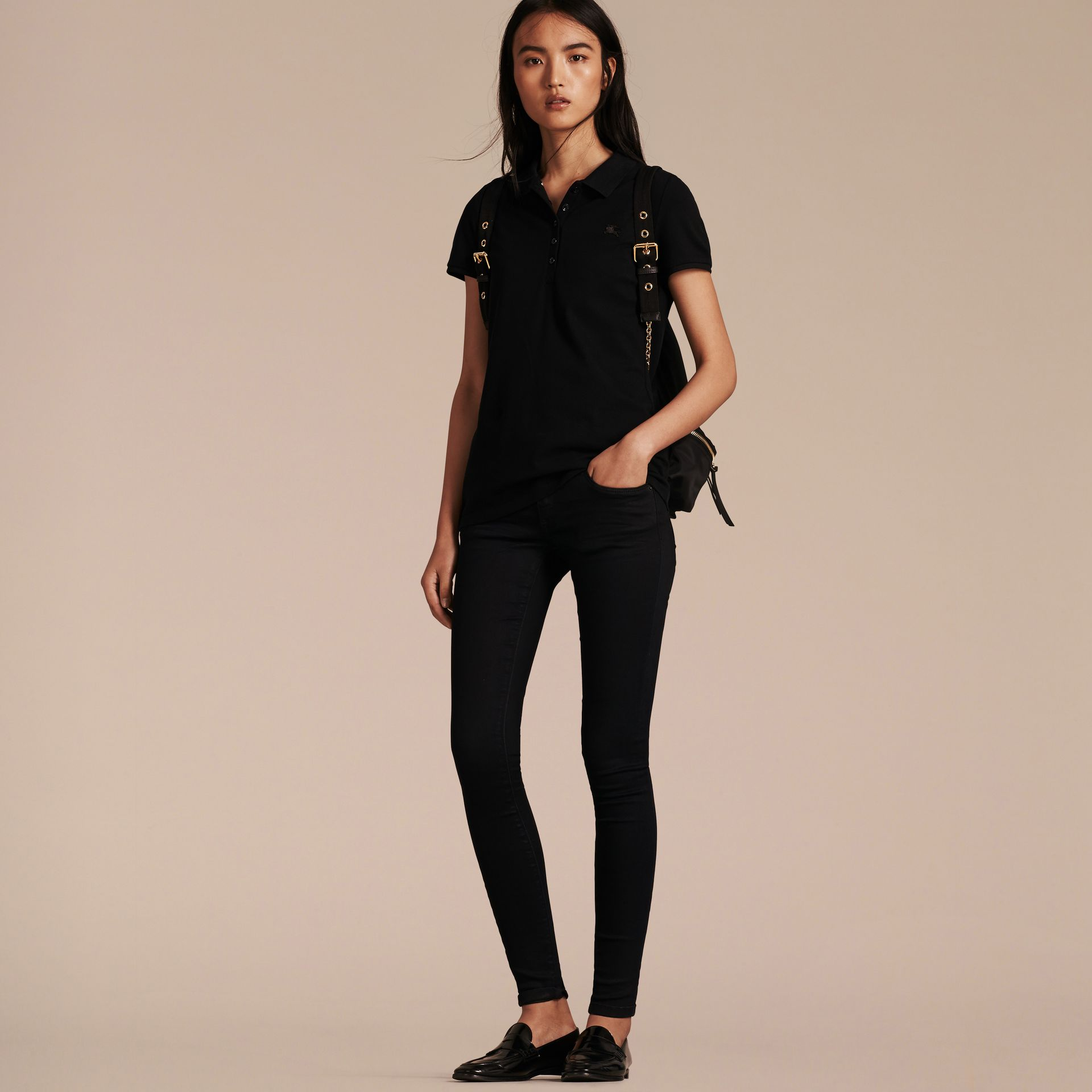 Cotton Piqué Polo Shirt in Black - gallery image 6