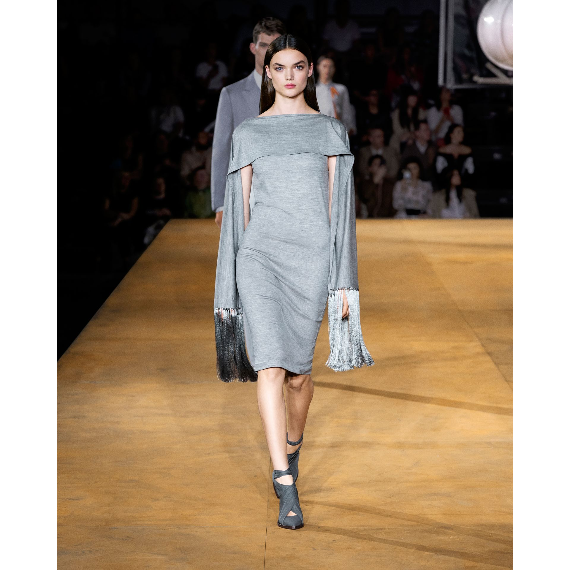 Merino Wool Sleeveless Dress with Fringed Capelet in Cloud Grey - Women | Burberry Australia - gallery image 2
