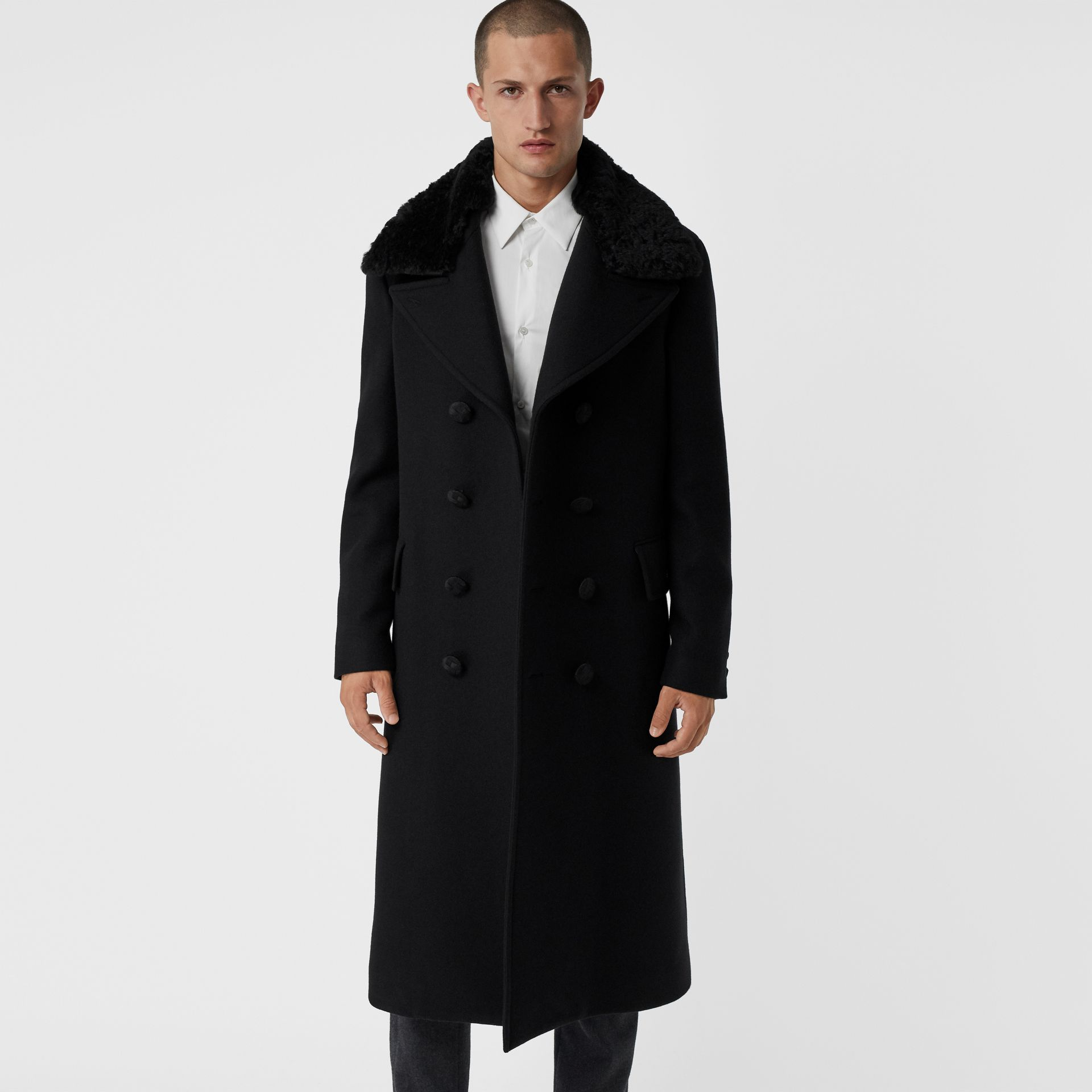 Detachable Shearling Collar Cashmere Chesterfield in Black - Men | Burberry - gallery image 5