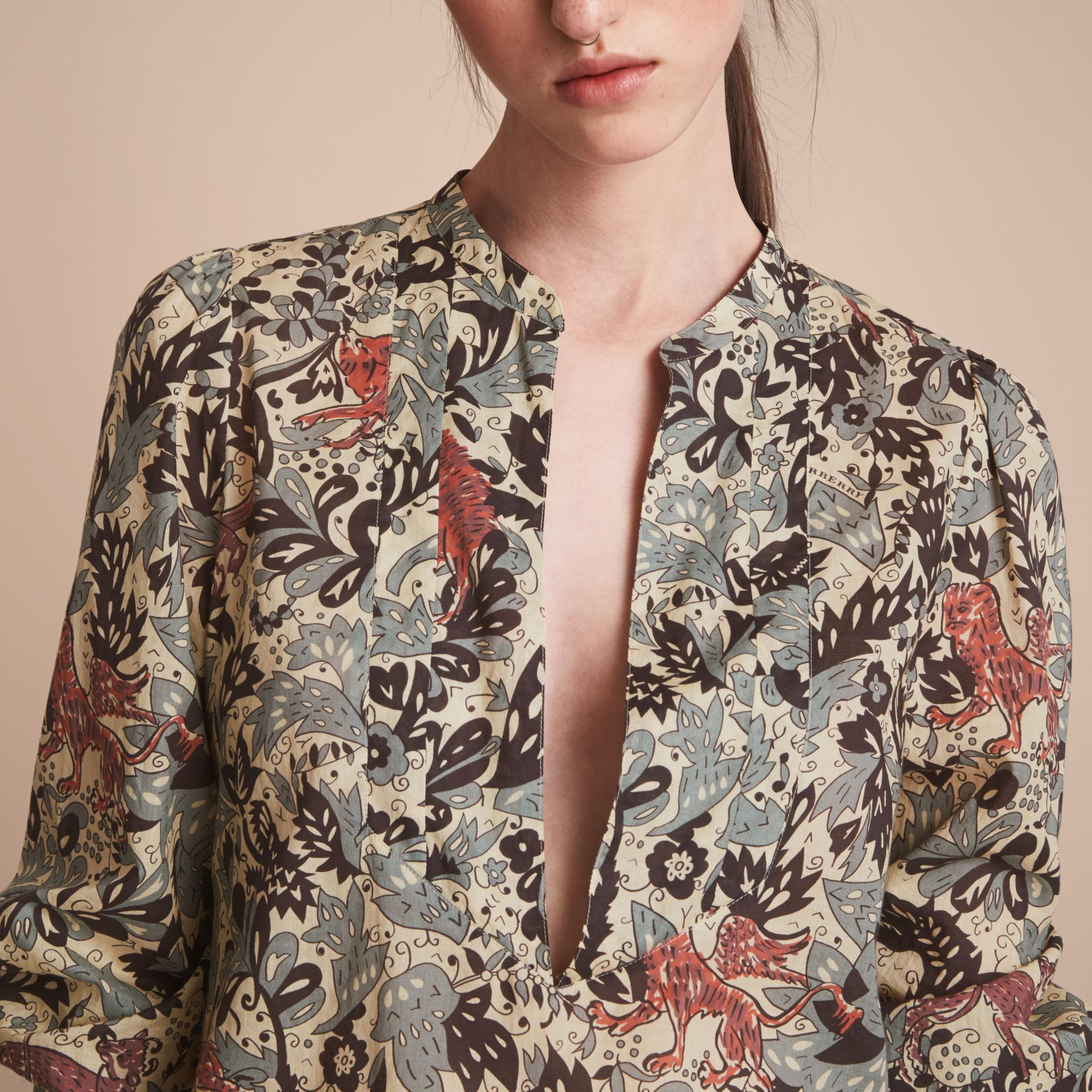 Beasts Print Cotton Tunic Shirt - Women | Burberry - gallery image 5