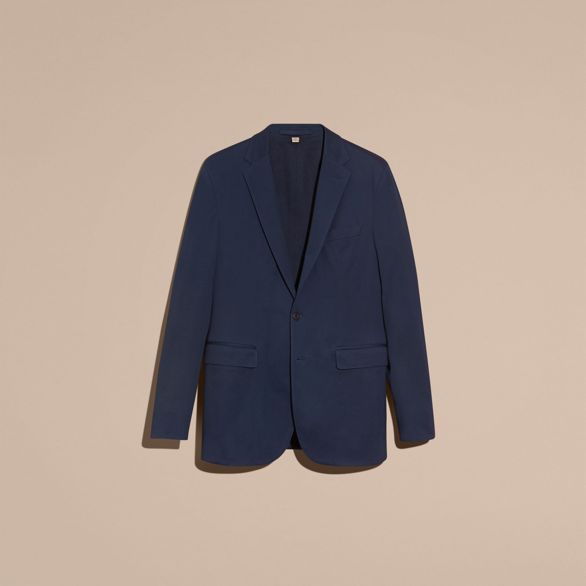 Navy Slim Fit Cotton Tailored Jacket - gallery image 4