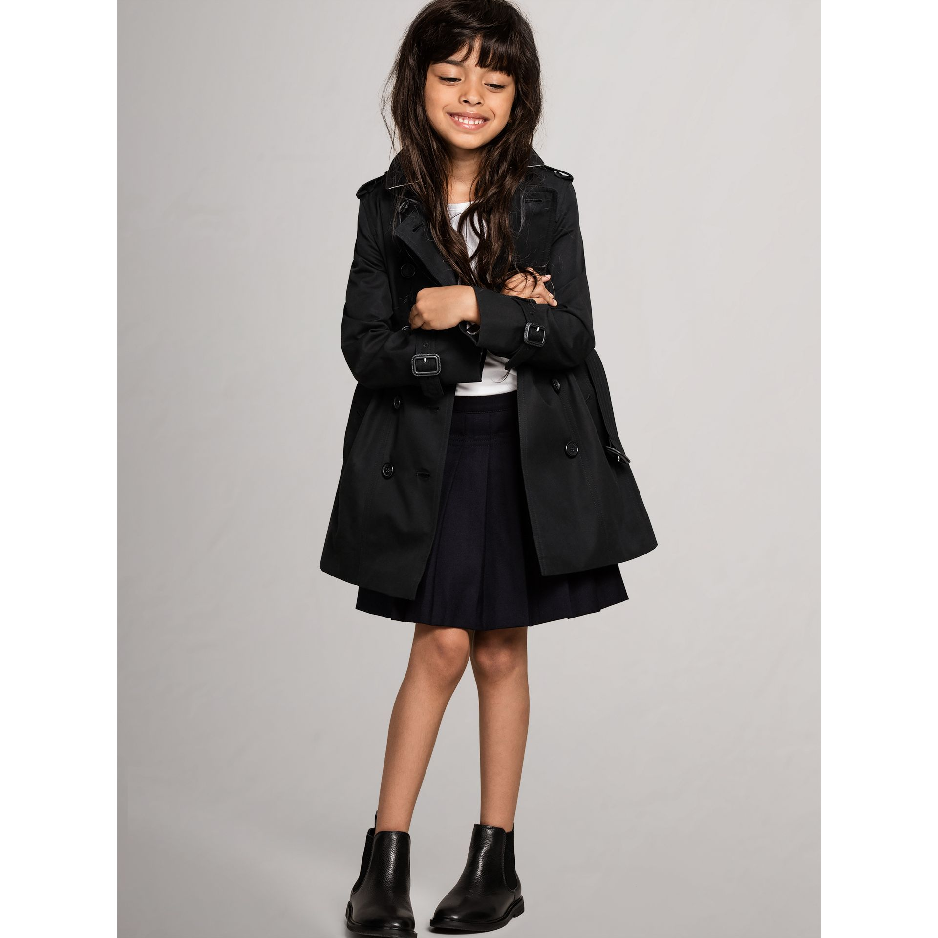 The Sandringham - Trench coat Heritage (Nero) - Bambina | Burberry - immagine della galleria 1