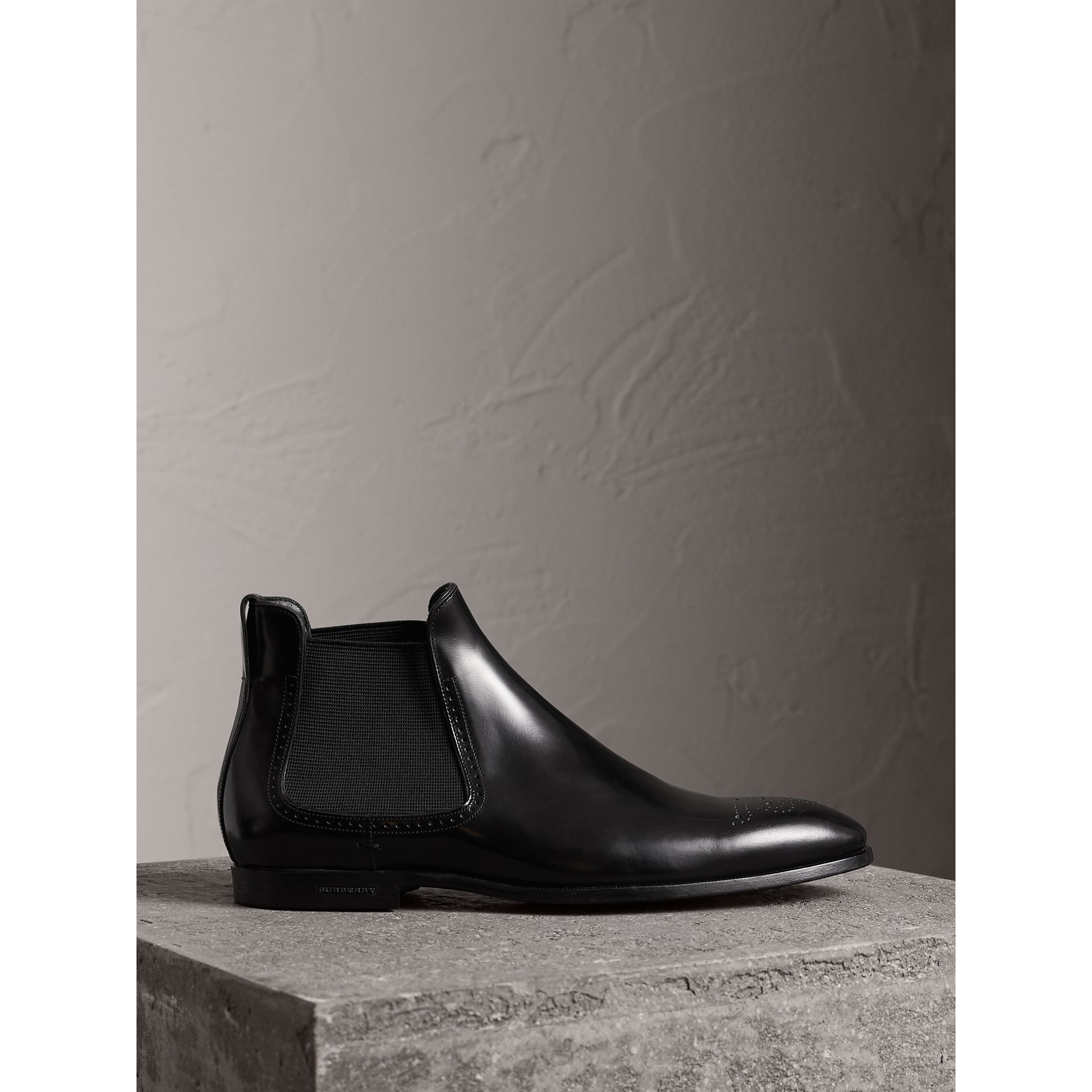 Perforated Detail Leather Chelsea Boots in Black - Men | Burberry United States - gallery image 0