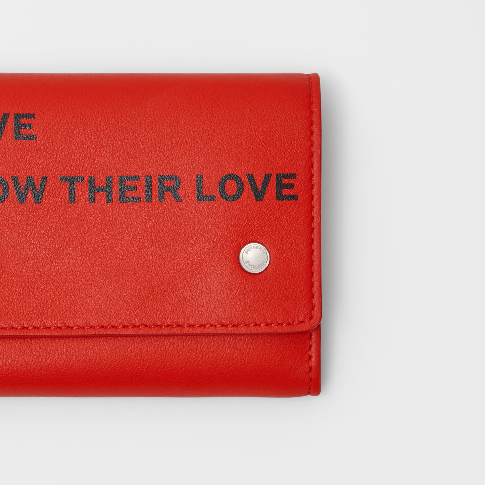 Quote Print Leather Continental Wallet in Bright Military Red - Women | Burberry - gallery image 1