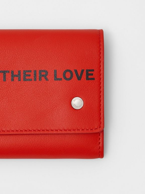 Quote Print Leather Continental Wallet in Bright Military Red - Women | Burberry United Kingdom - cell image 1