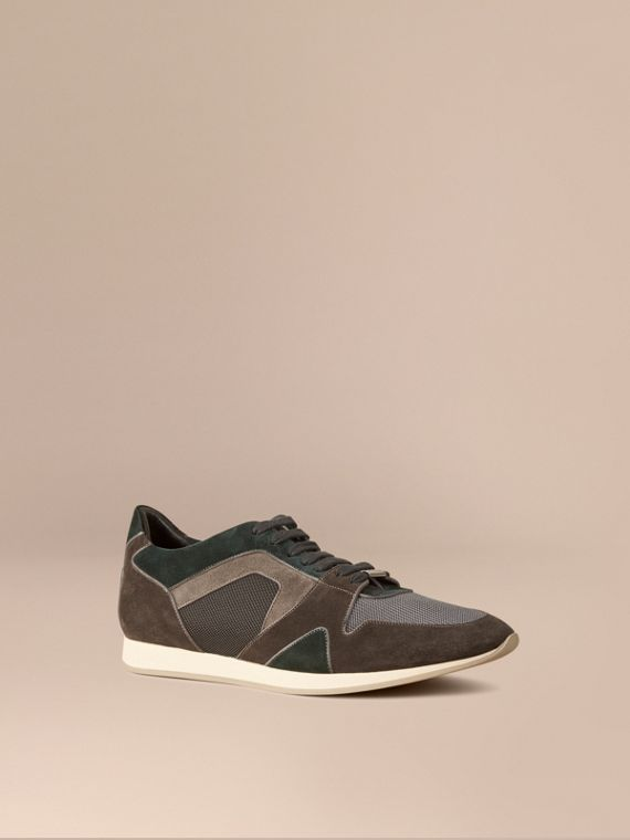 The Field Sneaker in Colour Block Suede and Mesh Dark Storm Grey