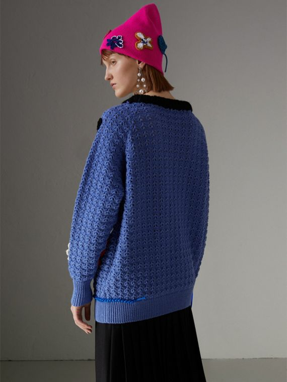 Embellished Wool Lace Sweater in Cornflower Blue - Women | Burberry Hong Kong - cell image 2