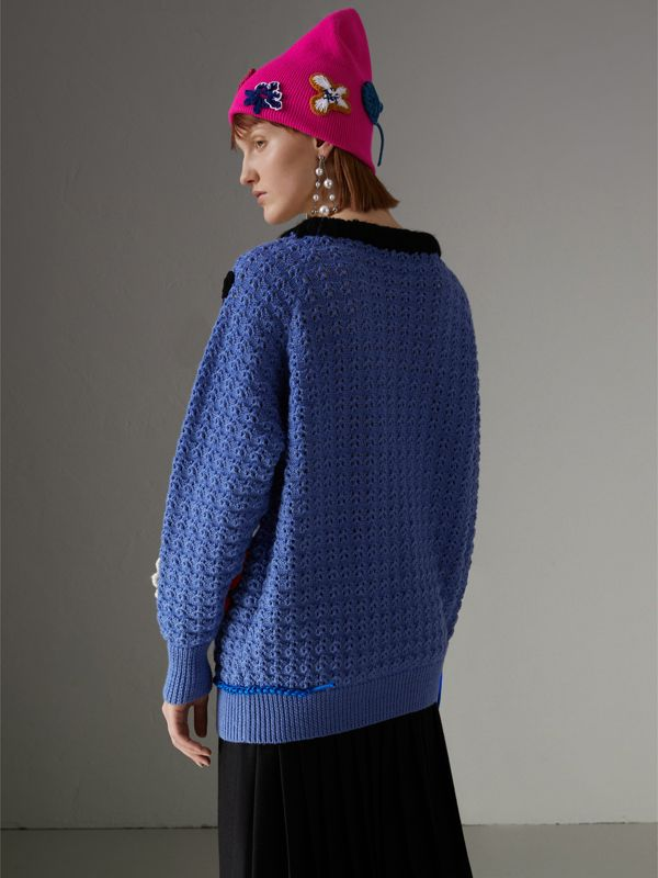 Embellished Wool Lace Sweater in Blue - Women | Burberry - cell image 2