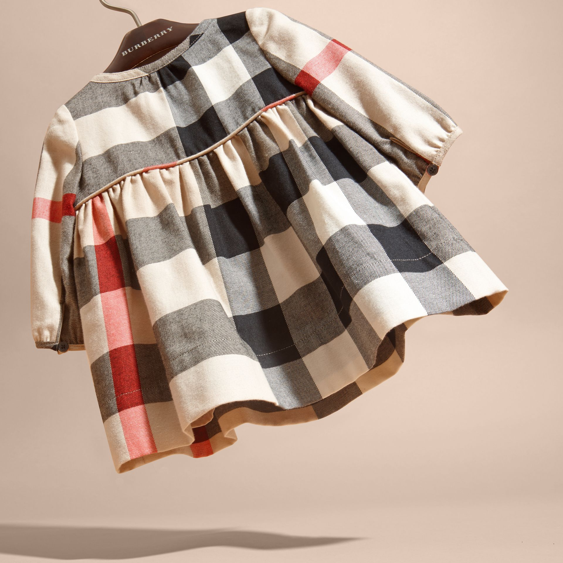 Check Cotton Flannel Dress with Bow Detail - gallery image 4