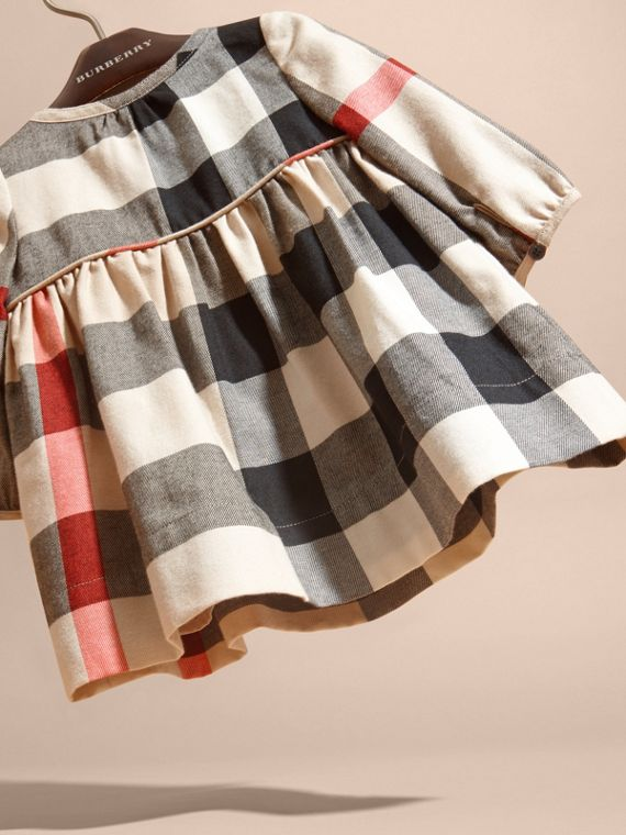 Check Cotton Flannel Dress with Bow Detail - cell image 3