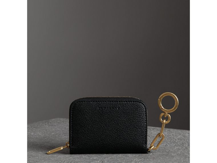 Link Detail Leather Ziparound Wallet in Black - Women | Burberry - cell image 4