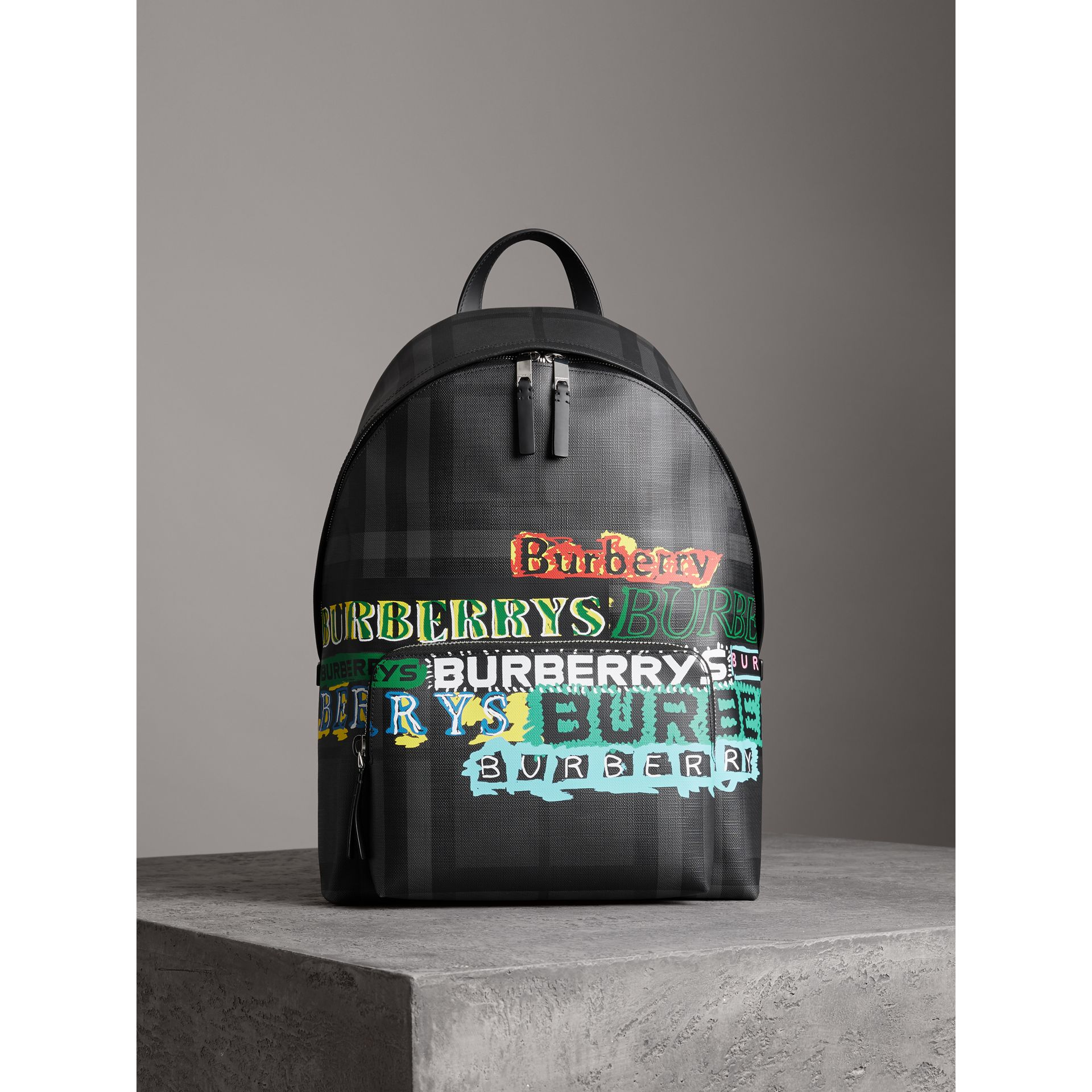 Logo Print London Check Backpack in Charcoal - Men | Burberry - gallery image 6