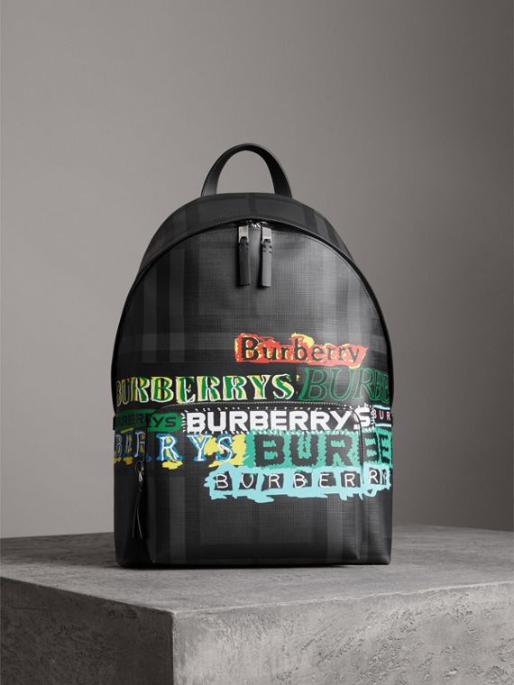 Logo Print London Check Backpack in Charcoal
