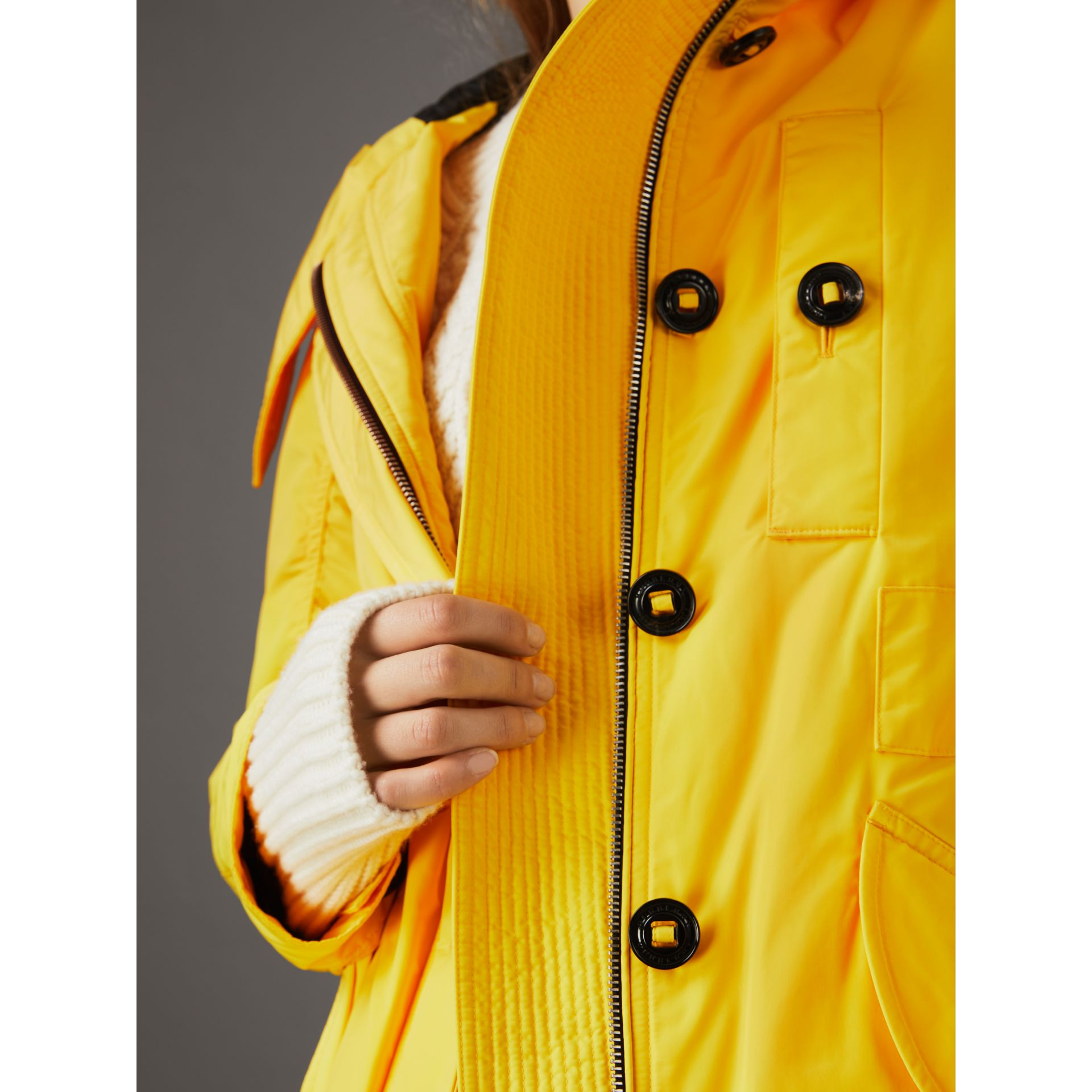 Technical Taffeta Hooded Parka in Bright Yellow - Women | Burberry - gallery image 4