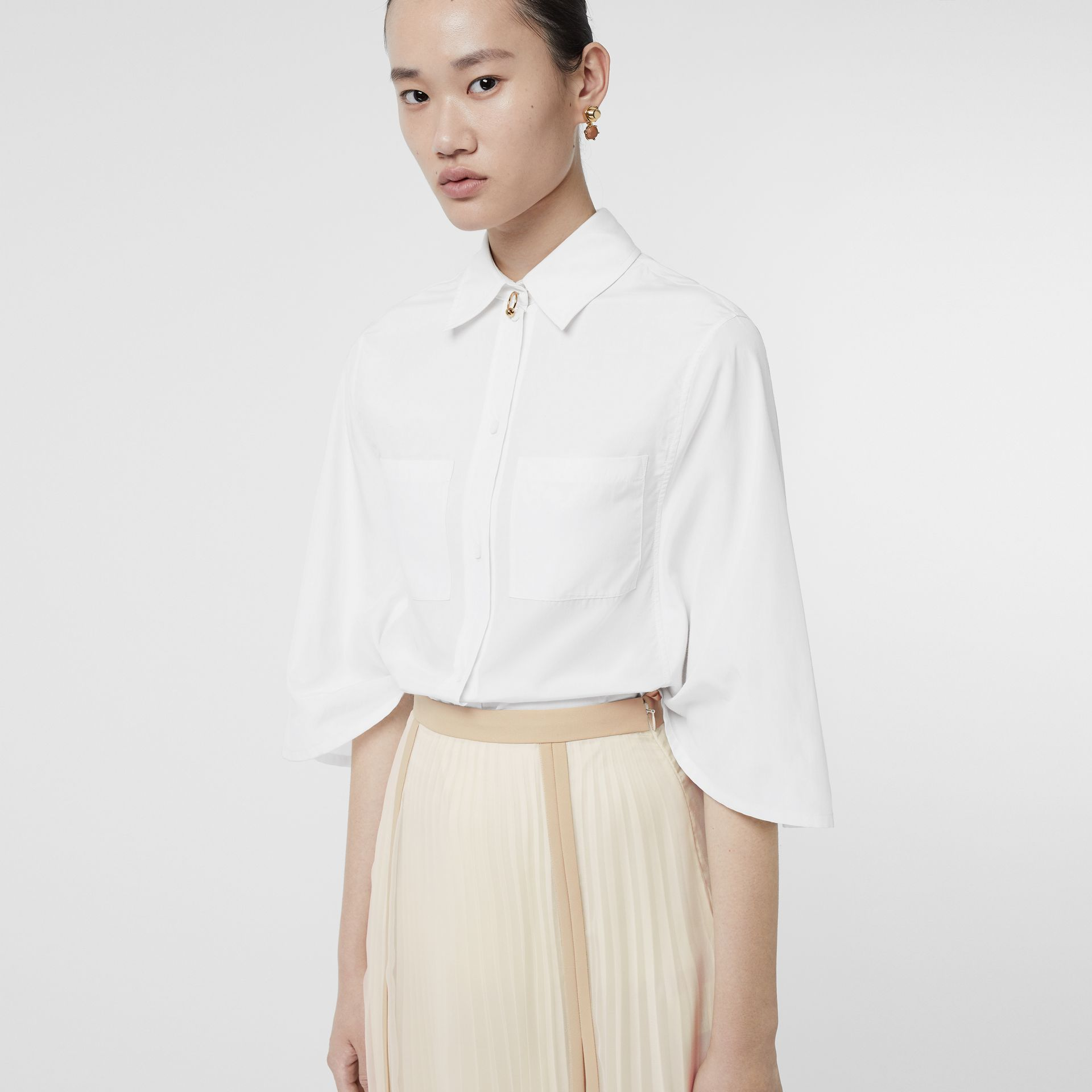 Silk Cotton Capelet Shirt in Optic White - Women | Burberry Singapore - gallery image 4