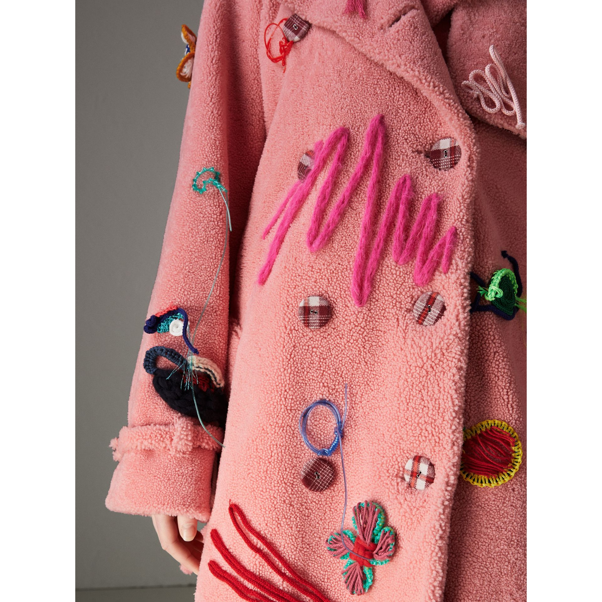 Embellished Shearling Trench Coat in Bright Pink - Women | Burberry - gallery image 4