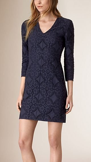 Fitted V-neck English Lace Dress