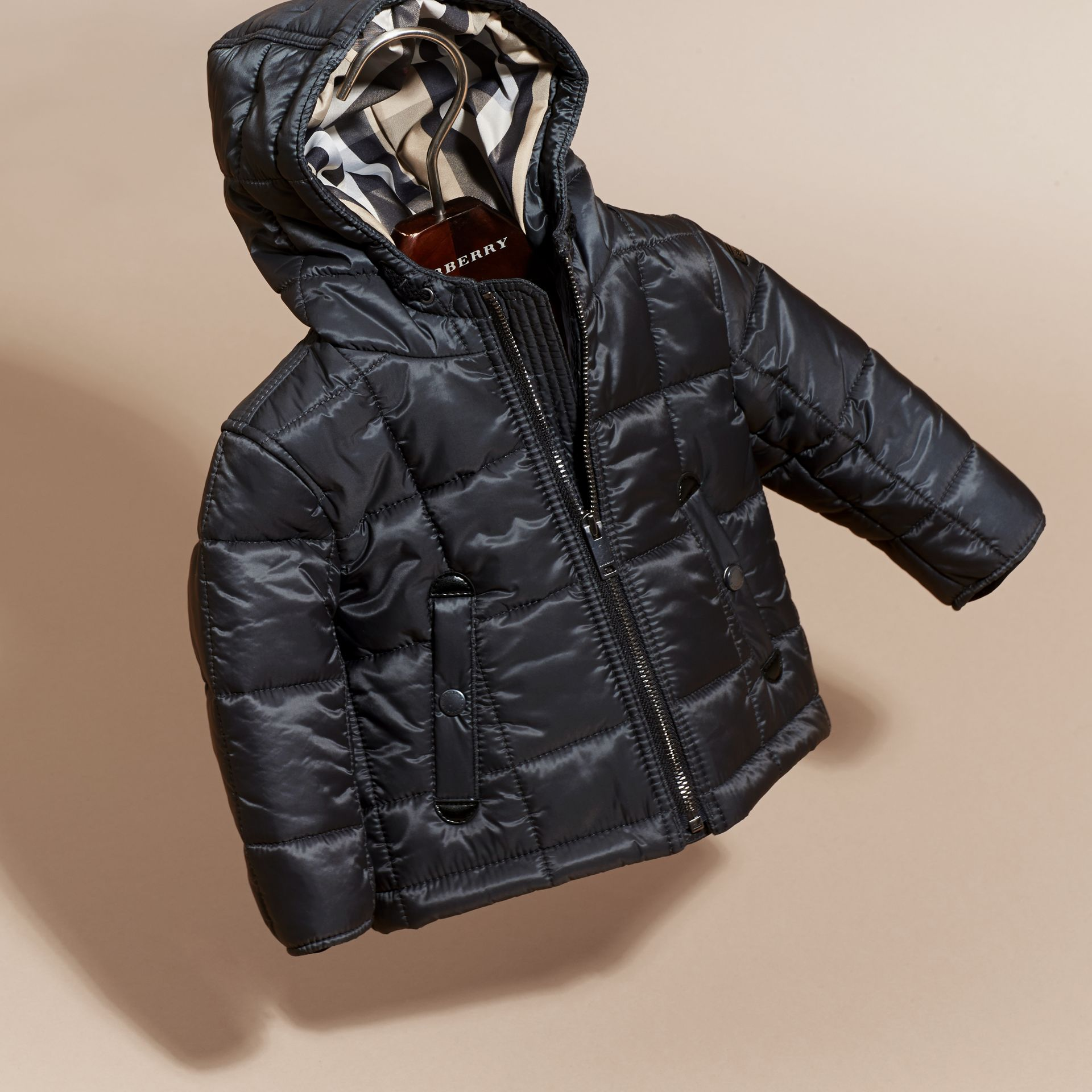 Charcoal Lightweight Quilted Jacket with Hood - gallery image 3