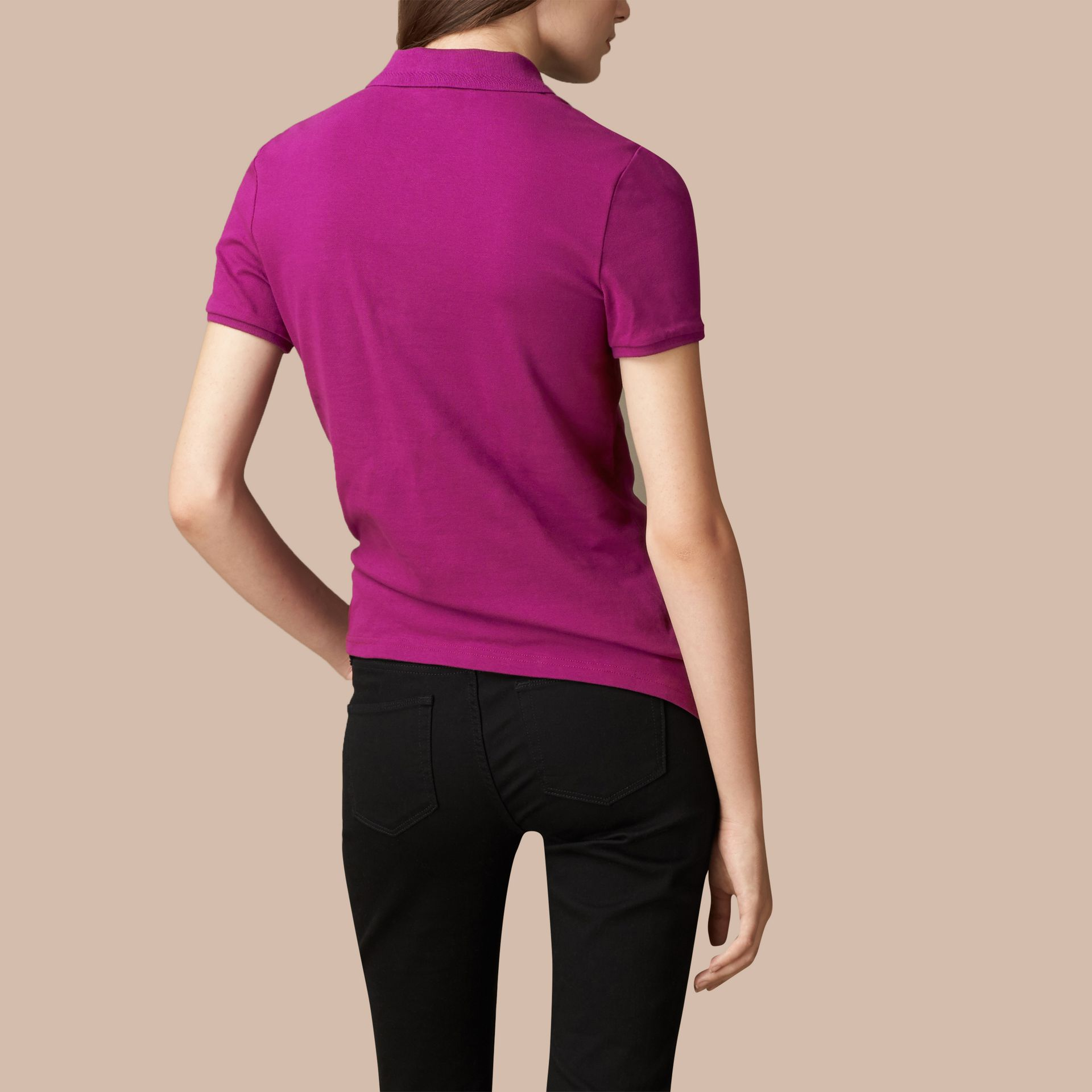 Cotton Piqué Polo Shirt in Magenta Pink - gallery image 4
