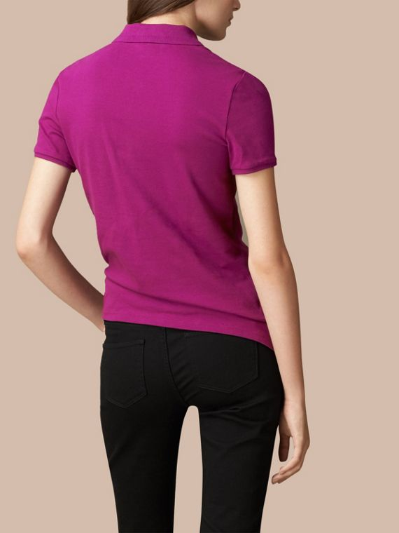 Cotton Piqué Polo Shirt in Magenta Pink - cell image 3