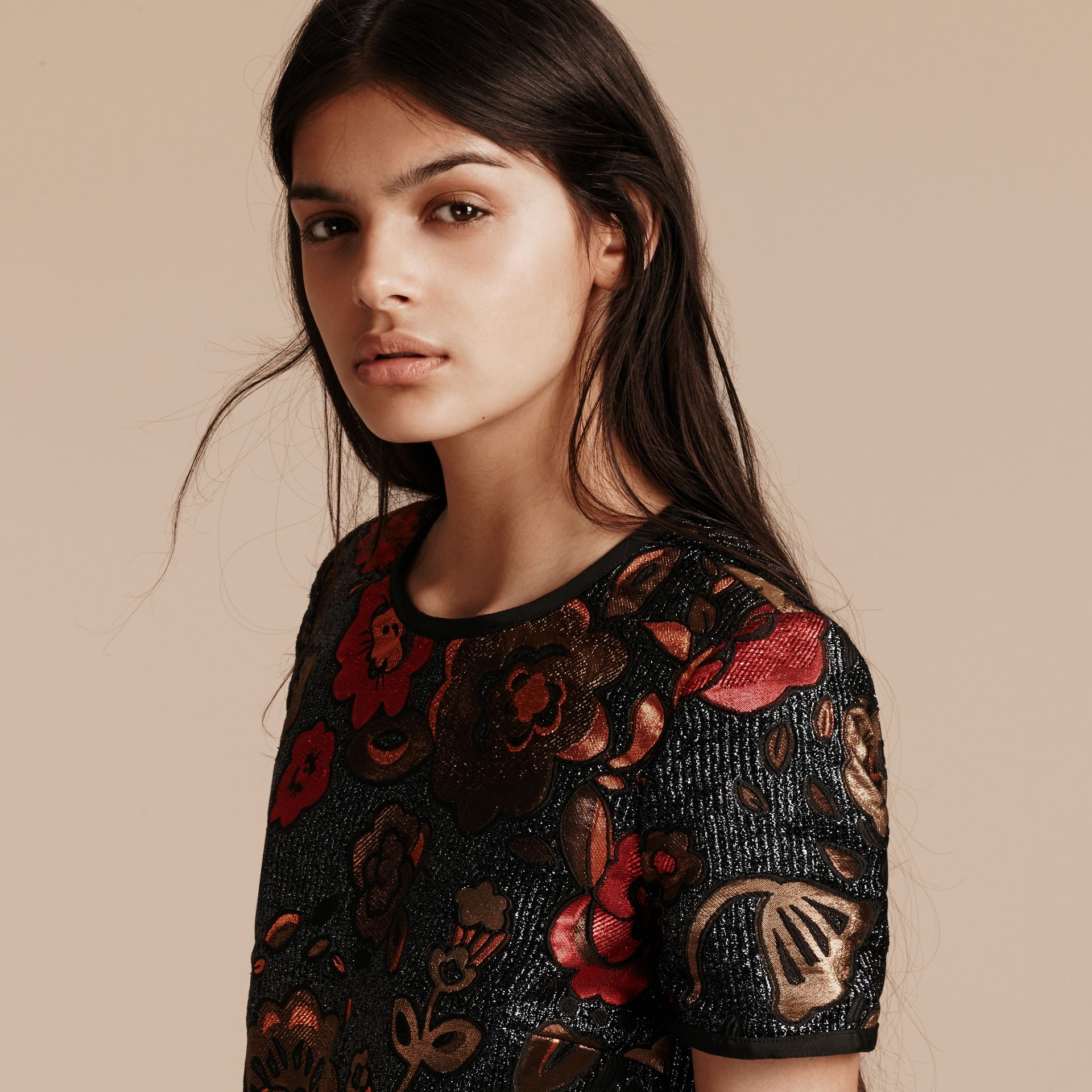 Navy Floral Jacquard T-shirt Dress - gallery image 5