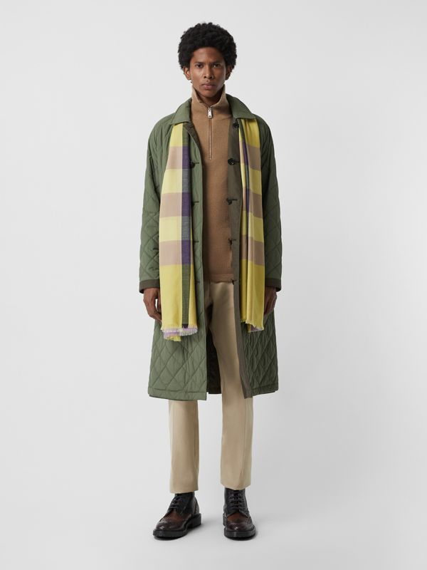 Lightweight Check Cashmere Scarf in Dusty Citrine | Burberry - cell image 3