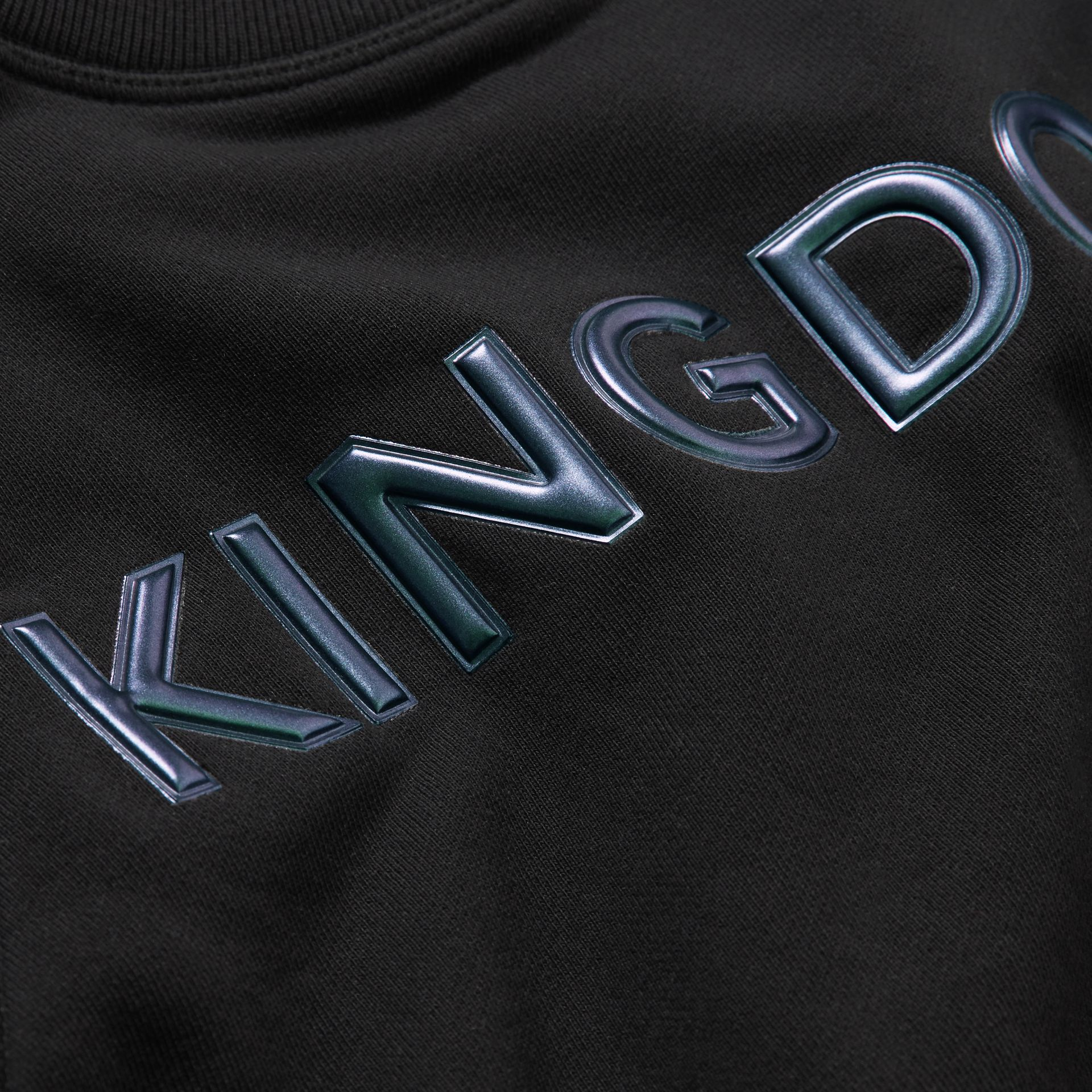 Kingdom Print Cotton Sweatshirt in Black | Burberry Australia - gallery image 1