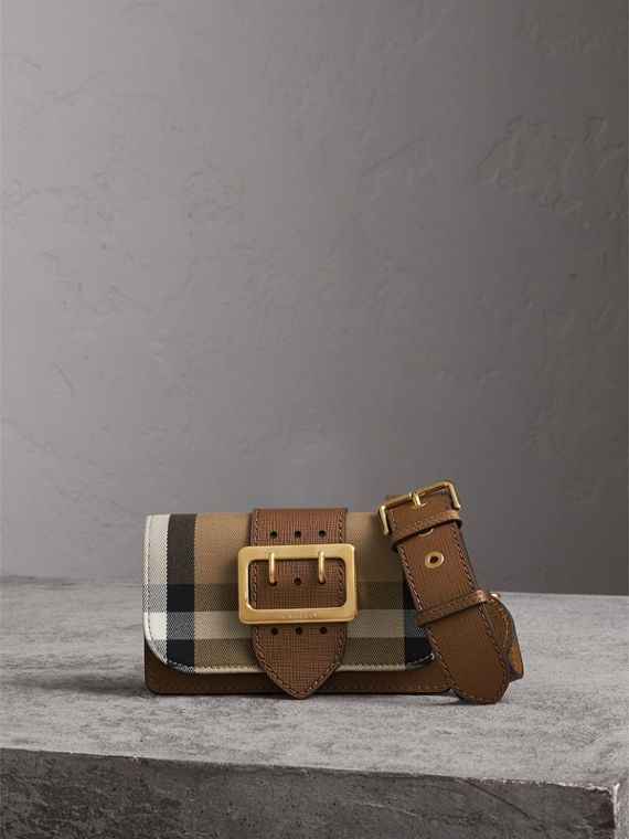 The Small Buckle Bag in House Check and Leather in Tan - Women | Burberry