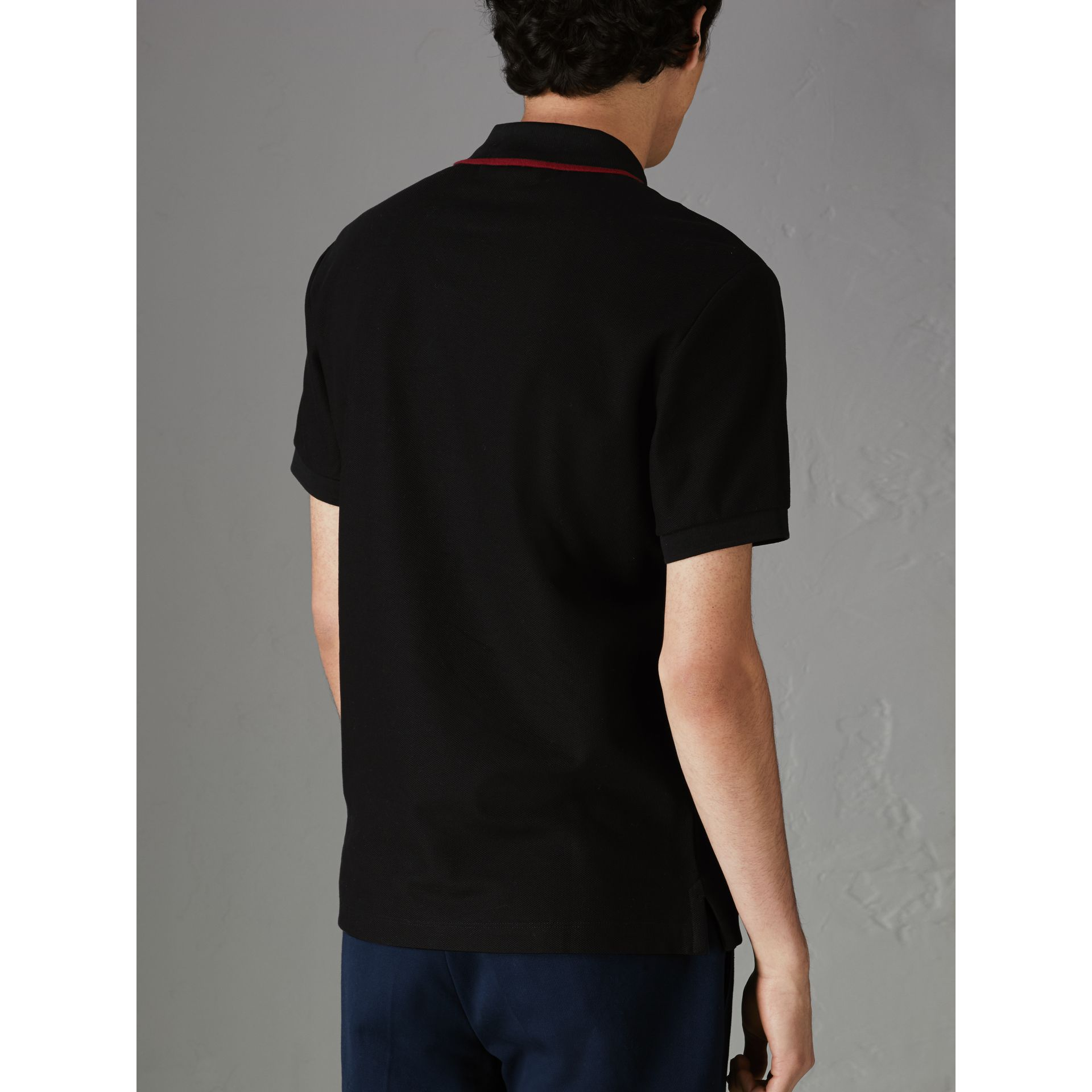 Archive Logo Cotton Piqué Polo Shirt in Black - Men | Burberry United States - gallery image 2