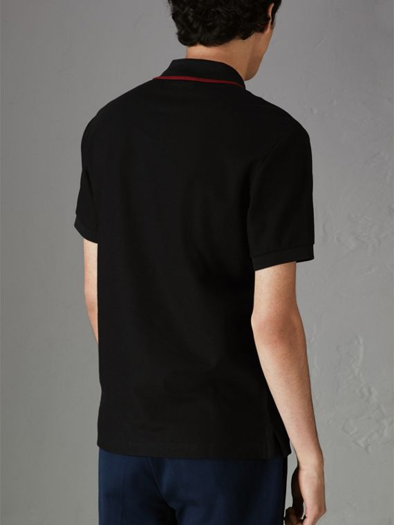 Archive Logo Cotton Piqué Polo Shirt in Black - Men | Burberry United Kingdom - cell image 2