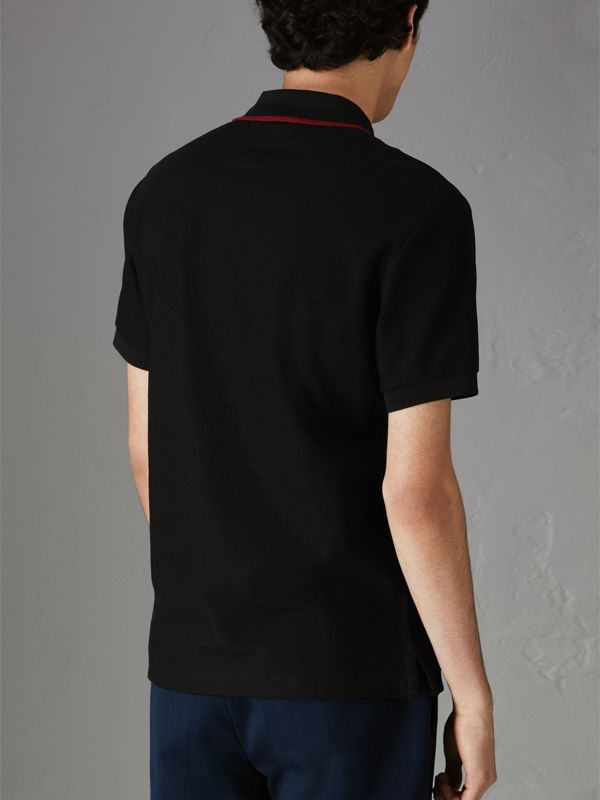 Archive Logo Cotton Piqué Polo Shirt in Black - Men | Burberry Singapore - cell image 2