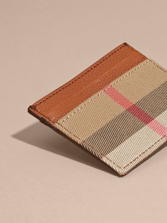House Check and Grainy Leather Card Case Russet - cell image 3