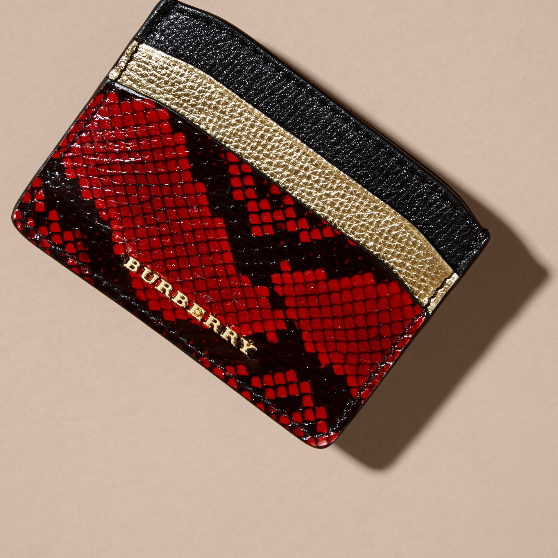 Colour Block Leather and Snakeskin Card Case in Black/gold - gallery image 3