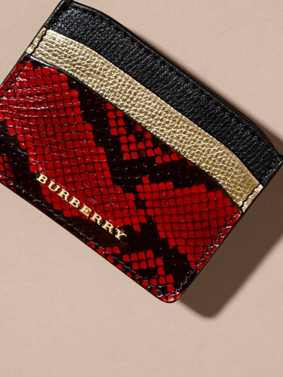 Colour Block Leather and Snakeskin Card Case in Black/gold - cell image 2
