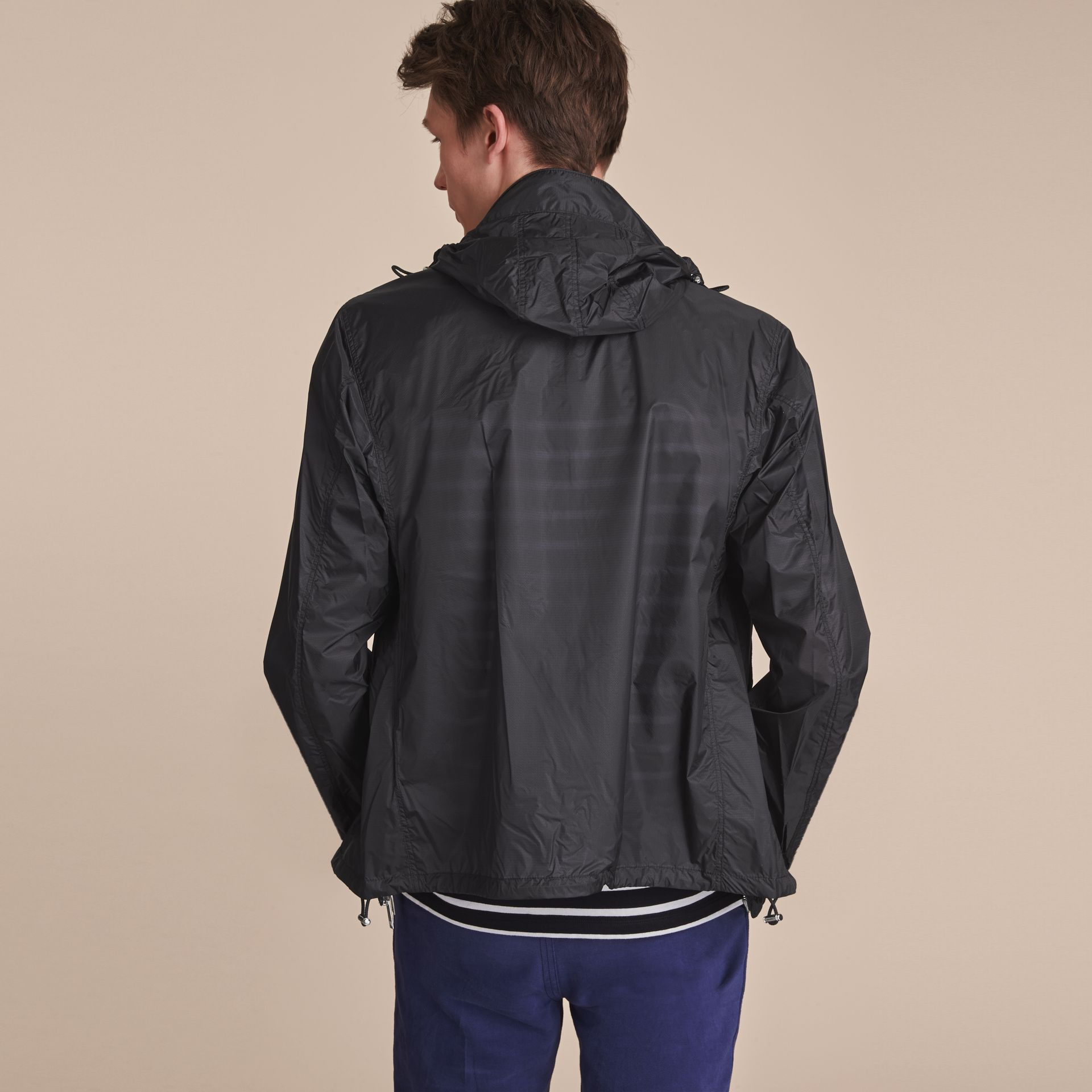 Hooded Super-lightweight Jacket Navy - gallery image 3