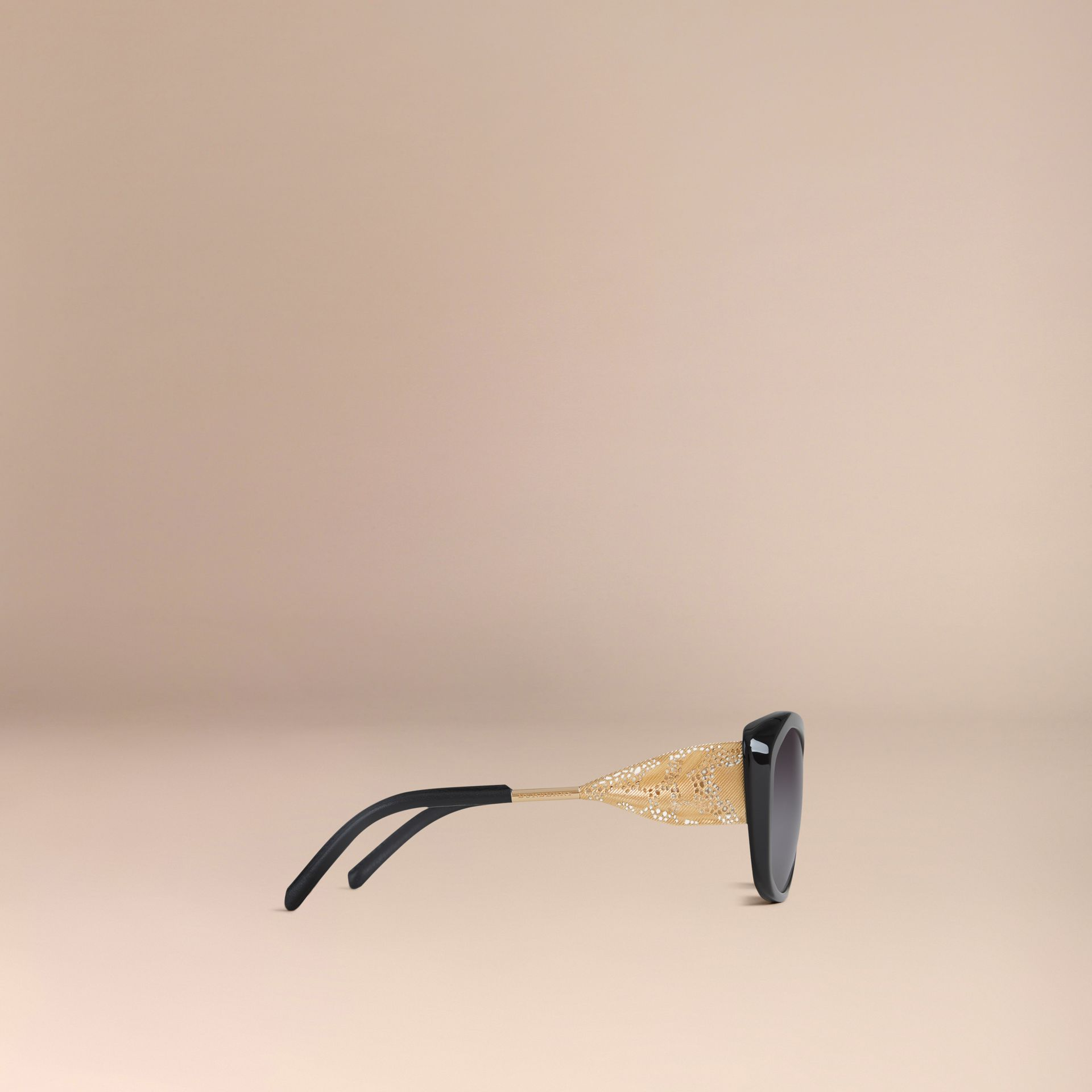 Black Gabardine Lace Collection Square Frame Sunglasses Black - gallery image 6
